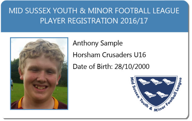 Sample ClubCards121 Football League Player Registration card